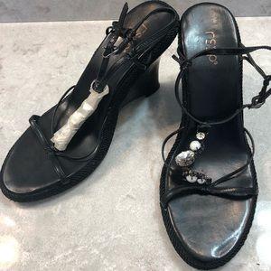RSVP strappy, jeweled NWOT wedge sandals. Black